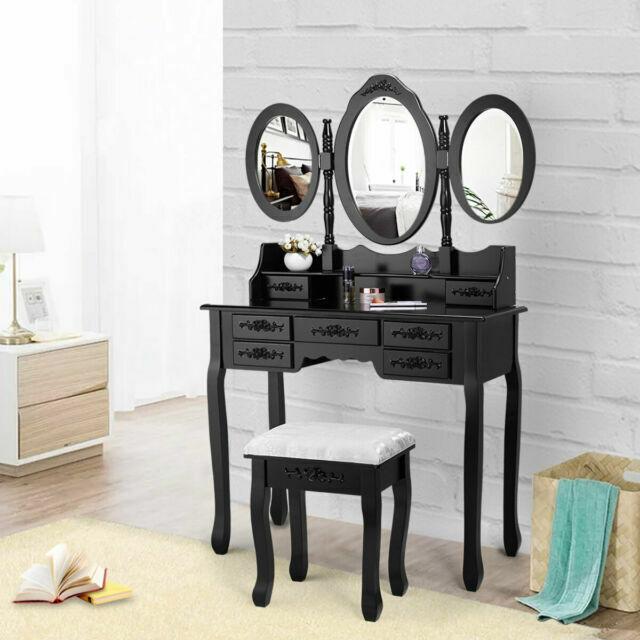 Jaxpety Makeup Vanity Table Set Tri, Vanity Table Set With Lighted Mirror Stool