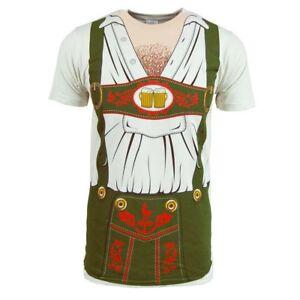 Oktoberfest-T-Shirt-Costume-Lederhosen-Mens-Bavarian-NEW-White-Beer-Festival-Tee
