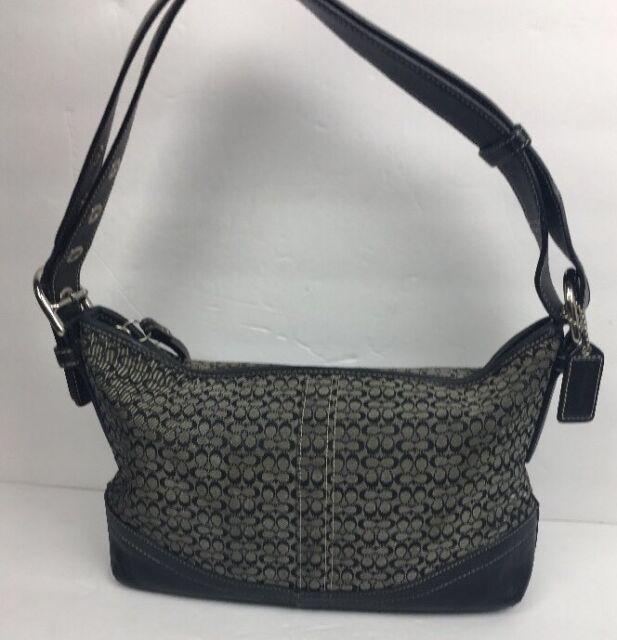 efd386718d11 Coach Black Signature Hobo Shoulder Bag Handbag Purse Leather Trim Small  10945