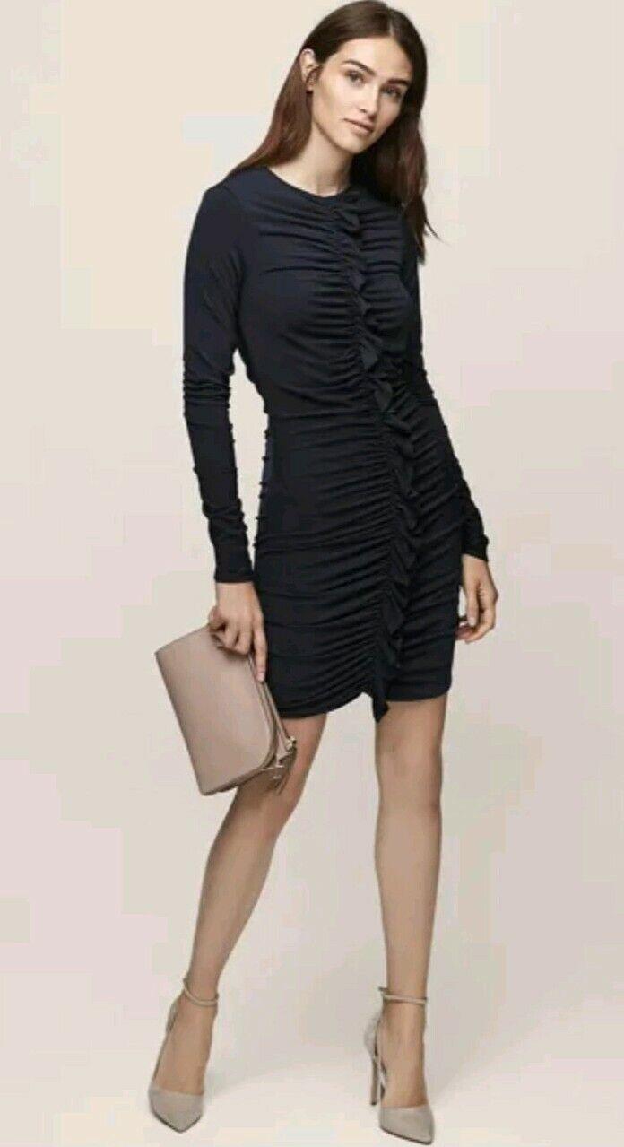Designer REISS Harriet long sleeve dress Größe 8 --BRAND NEW--ruched frill detail