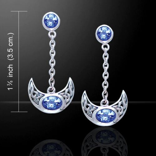 Celtic Knot Crescent Moon .925 Sterling Silver Earrings Choice Gem Peter Stone