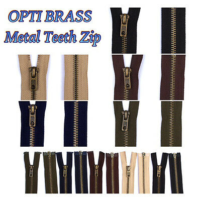 OPTI ANTIQUE BRASS METAL TEETH ZIP Open Ended - Choose Your Colour