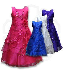 Flower-Girls-Formal-Layered-Wedding-Dresses-Bridesmaid-Party-Dress-Age-4-to-15-Y