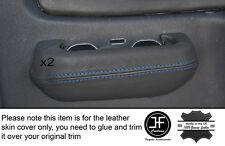 BLUE Stitch 2x POSTERIORE GRIGIO PORTA INTERRUTTORE Trim pelle COPERTINE Si Adatta Mitsubishi L200 K74