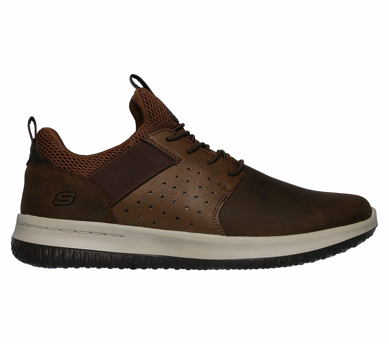 Skechers Delson - Axton Trainers Leather Elastic Memory Foam schuhe Mens 65870