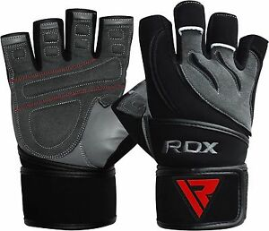 RDX-Weight-Lifting-Body-Building-Gloves-Gym-Straps-Training-Leather-Training