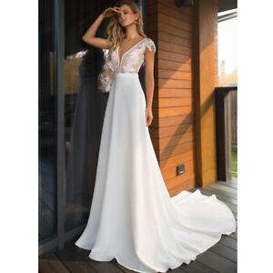 Schlichtes Spitze Brautkleid Hochzeitskleid Kleid Fur Braut Ruckenfrei Bc928 Ebay