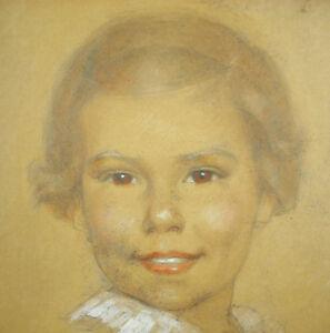 Portrait D'une Jeune Femme Dessin Original Signé à Déterminer 1940 36 Cm Pastel Uy7nwes3-10102829-988570884