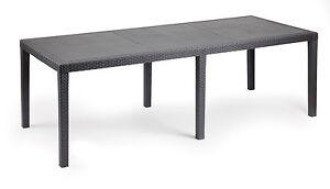 Gartentisch-Queen-grau-wetterfest-Tisch-220-x-90-cm-Polyrattan-Optik-ausziehbar