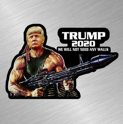 Trump Rambo Wall 2020 Vinyl Decal Sticker MAGA Republican Gun ...