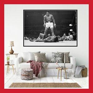 100% Vrai Toile Affiche Poster Photo Boxe Combat Legende 1965 Mohammed Ali Sonny Liston Cd Doux Et AntidéRapant