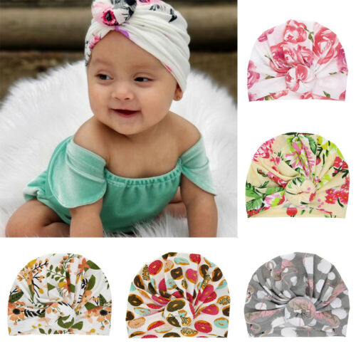 Kids Girls Headwear Knotted Headband Kids Baby Turban Beanie Hat Cute Baby Cap