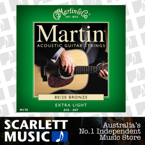 1 of 1 - Martin M170 10-47 Extra Light 80/20 Bronze Acoustic Guitar Strings M-170