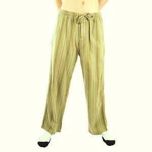 Life-is-Good-Artichoke-Green-Striped-Flannel-Pajamas-Lounge-Pants-Sleepwear-PJs