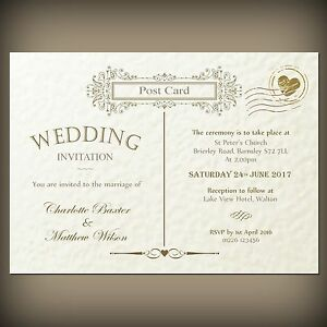 Image Is Loading 10 X Vintage Postcard Wedding Evening Invitation White