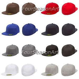 New Flexfit Premium Flatbill Fiited Baseball Cap Flat Bill Black Hat ... d07761b6edf4