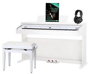 88 Keys Digital Electric Piano Keyboard 14 Sounds USB Bench Headphones Set White