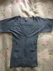 Heavenly Soft Short Sleeves FAT FACE cardigan In Light Blue-size 8. VGC