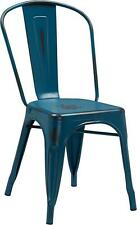 DISTRESSED KELLY BLUE METAL INDOOR STACKABLE CHAIR