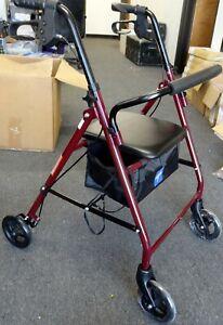 NEW! Medline basic steel rollator knockdown roller walker 6