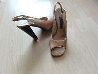 CASADEI LUXUS Vintage Leder Slingbacks,Sandalen,Gr. 37,Beige/Nude+Nardini Tasche