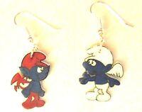 Smurf Earrings Devil Smurf Angel Smurf Charms Good Vs Evil Mix Match