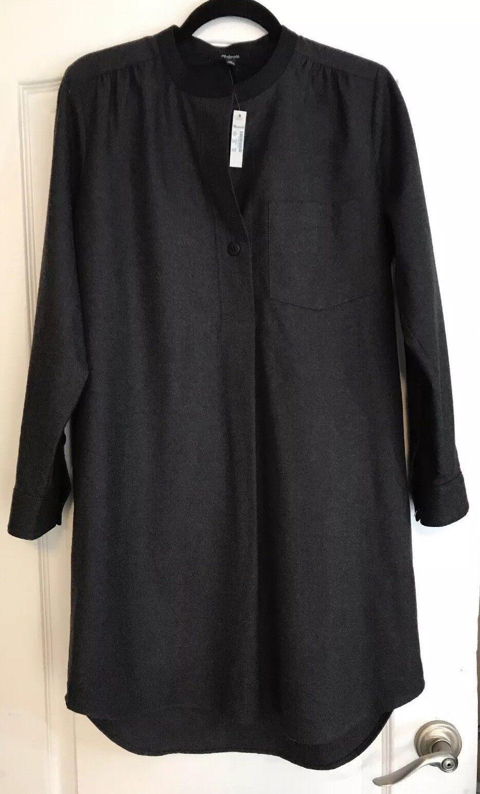 Madewell damen M Medium schwarz grau Wool Blend  Flannel Latitude Tunic dress New