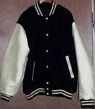 Mens 3XL Varsity Jacket Black Natural Leather and Wool XXXL Coat Stewart Strauss