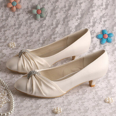 Satin Low Heel Wedding Shoes UK size 3-8