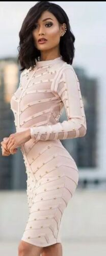 Bandage bodycon long sleeve sheer midi nude dress BNWT XS 6 8 The Dolls House