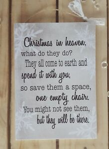 Image Is Loading Handmade Christmas In Heaven Quote Plaque Loved Ones
