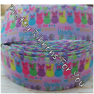 "Easter Bunnies 1/""  grosgrain ribbon the listing is for 3 yards /& 2 resins"