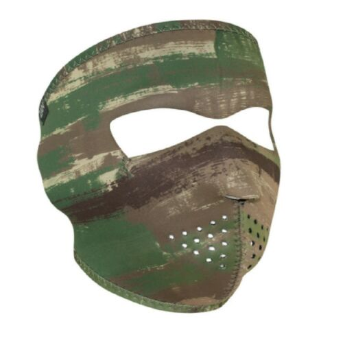 Brushed Camo Camouflage Army Green Tan Neoprene Full Face Mask Biker Paintball