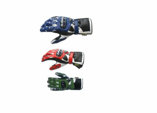 Motorbike//Motorcycle Protective  Leather Gloves  choice of colors Red//Blue//Green