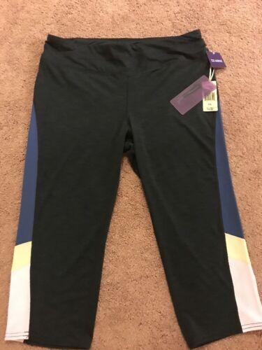 New Tangerine Women's XXL Black// Teal Block Active Capri Yoga Pants