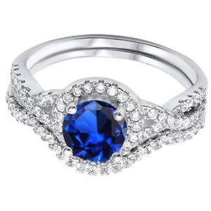 Zafiro-Azul-Compromiso-Infinity-Imitacion-Diamantes-Plata-de-Ley-Juego-de-Anillo