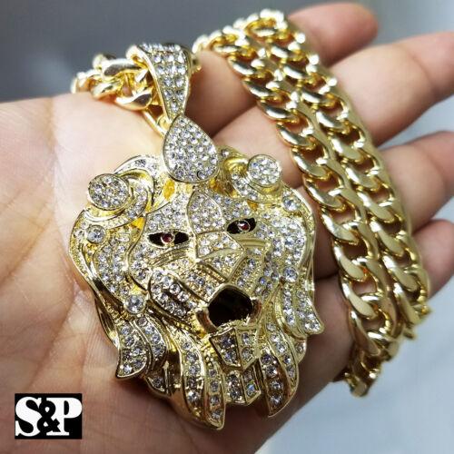 """Gold PT Cubique Zircone Grand Lion Head Pendentif /& 10 mm 30/"""" Cubain Chaîne Lourde Hip Hop Collier"""