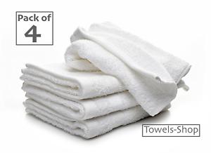 4x White Face Cloths Flannels Wash Cloths Pure Cotton Hotel Quality Soft Towels