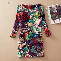 Large size women's clothing 2016 autumn winter dress everyday printing lady