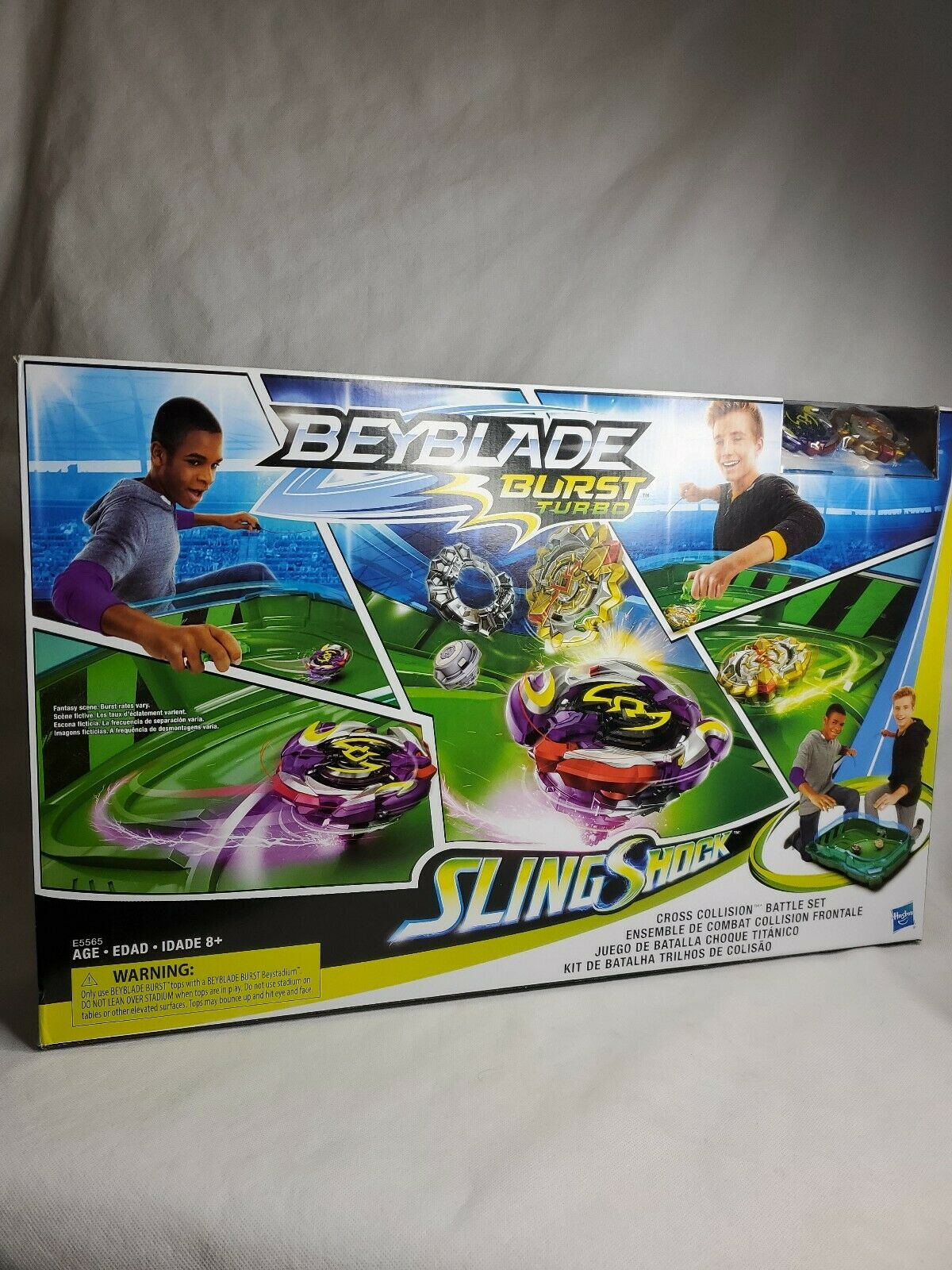 Beyblade Burst Turbo Slingshock Cross Collission battle Set Stadium Hasbro New