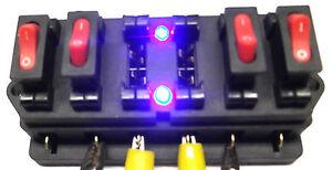 LED-Fuse-Box-with-Blue-Flashing-Leds-amp-On-Off-Switches-and-10-amp-15-Amp-fuse