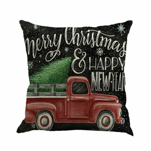 Christmas Car Tree Printing Sofa Bed Home Decor Pillow Case Cushion Cover Case