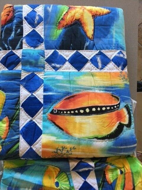 Tropical Fish Patchwork Quilt Brand New Full Queen 86