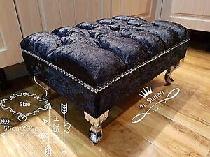 black-Crushed-velvet-Foot-Rest-Pouffe-foot-Stool-QueenAnne-Legs-British-Made