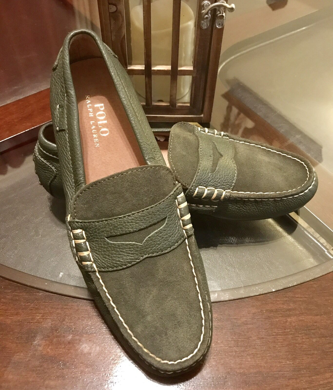 100% Authentic Ralph Lauren Gentlemans Driving Loafers Leather Shoes Size 9 New