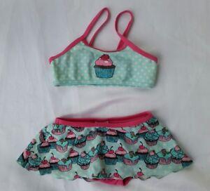 New-H-amp-M-Cup-Cake-Print-Bikini-with-Skirt-blue-pink-3-4yrs