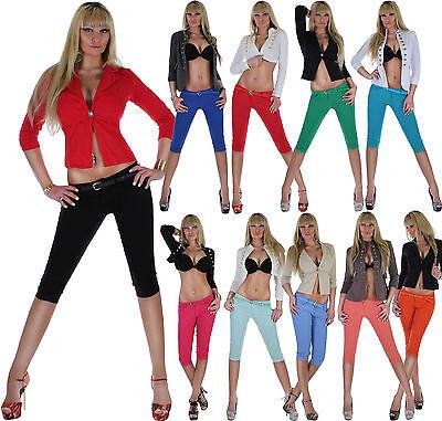 Damen Capri Hose Caprihose Caprijeans Sommerhose 3/4 Bermuda Shorts Hüfthose ★1a