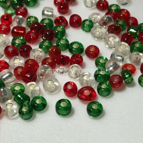 25g Glass seed beads Christmas mix 6//0 4mm red green clear silverlined festive
