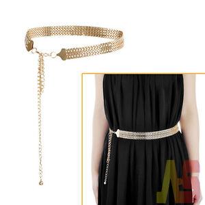Hot-Womens-Gold-Metal-Crystal-Diamante-Chain-Waist-Belt-Diamonds-Buckle-Gift-UK