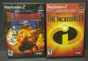 Disney-The-Incredibles-1-Rise-of-Underminer-PS2-Playstation-2-Game-Lot-Works